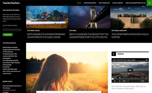 twentyfourteen par défaut dans WordPress 3.8