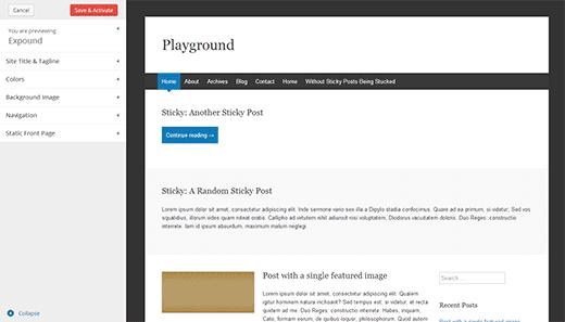 Prévisualisation d'un thème sous WordPress 3.8